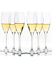 Set of 6, 9-Ounce Crystal Champagne Flutes, Tulip Champagne Glasses Sparkling Wine Stemware for Home Bar Anniversary Birthday Wedding
