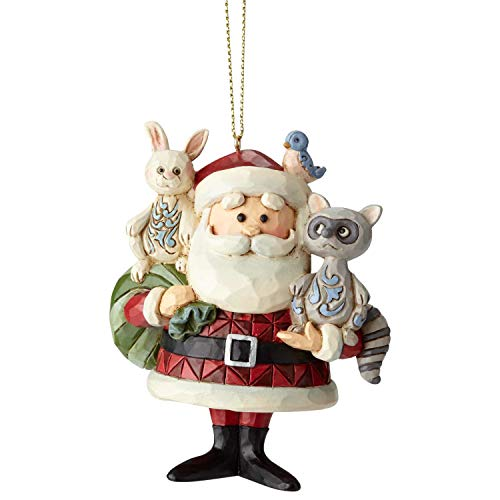 "Enesco Rudolph The Red Nosed Reindeer by Jim Shore Santa with Woodland Animals Hanging Ornament, 3.6"", Multicolor"