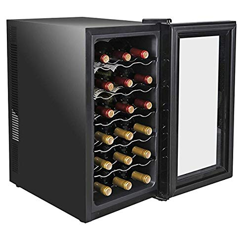 18 Bottle Wine Cooler Tempered Glass Door Chiller Counter Top Quiet Operation Freestanding Refrigerator Thermoelectric Operation Fridge Stainless Steel Cellar
