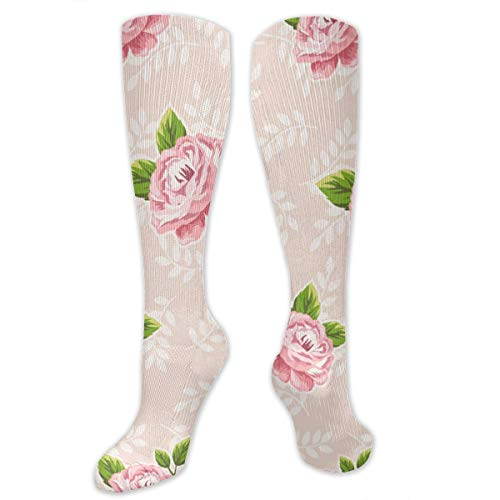 Beautiful Colorful Romantic Watercolor Flowers Men's/Women's Sensitive Feet Wide Fit Crew Socks And Cotton Crew Athletic Sock