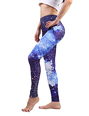 Maxi Leggings Fashion Galaxy Star Printed High Waist Pants for Women Workout Running Yoga