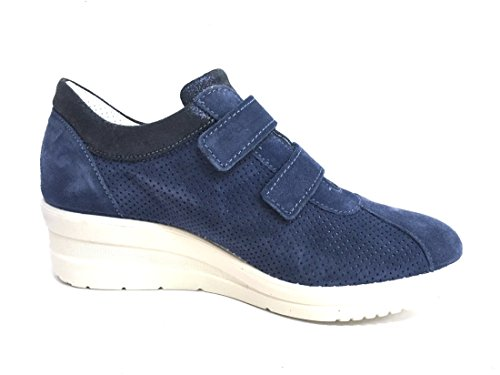 ENVAL SOFT 12654 Jeans Scarpa Donna Sneaker Zeppa 5 Pelle Made In Italy