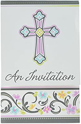 Amscan 499420 Blessed Day Folded Invitations 3 7//8 x 5 5//8 Multicolor