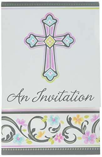 Amscan 499420 Blessed Day Folded Invitations 3 7/8