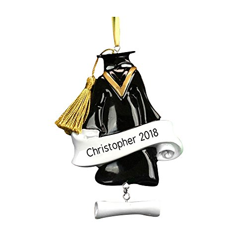 GiftsForYouNow Graduation Cap & Gown Personalized Ornament, Resin, 3