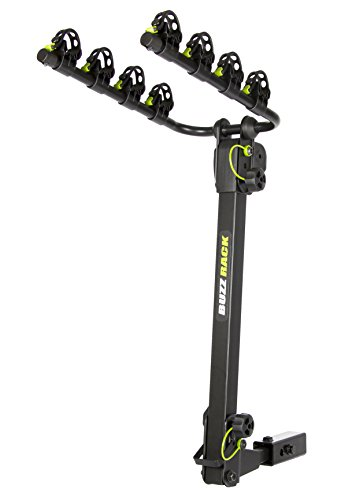 "BUZZ RACK Bike Platform Hitch Rack- 4-Bike Carrier Rack- Bike Transporter- Sturdy Steel Construction 2 Foldable Arms Carrier- Compatible with 1.25 or 2"" Hitch Receivers- Ideal for Travelling"