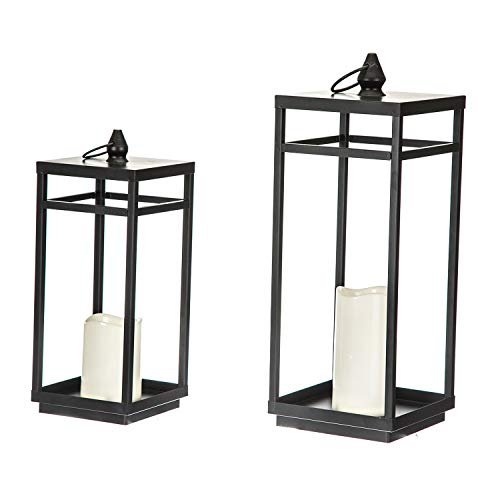 Topadorn Metal Lantern and Home Decoraive Lamp with LED Flameless Candle, Set of 2