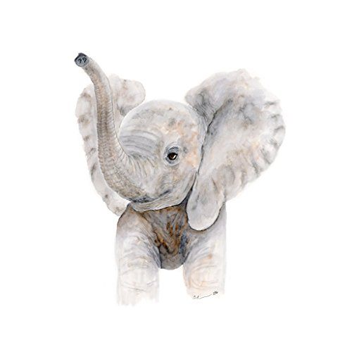 Trumpeting Baby Elephant Watercolor Nursery Wall Art Available In Various Sizes, Safari Nursery Art, Grey, White - Various Sizes Available