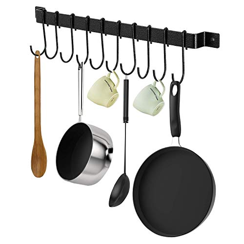 X-Chef Kitchen Rail with 10 S Hooks, 17inch Utensil Rack Wall Mounted for Pot Pan Lid Spatula, Kitchen Hooks for Utensils, Black