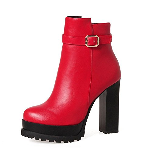 KingRover Women's Zipper Ankle Boots Strap Buckle Platform High Heels Buckle PU Leather Booties Red zzsrVJ