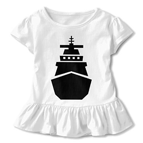 (JVNSS Navy Ship Pier Side Shirt Comfort Toddler Flounced T Shirts Shirt Dress for 2-6T Kids Girls)