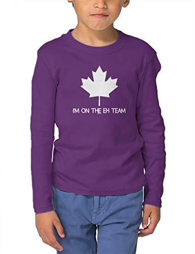 I'm On The Eh Team - Canada Strong Long Sleeve Toddler Cotton Jersey Shirt (Purple, 5T/6T) (Best Team Canada Jersey)