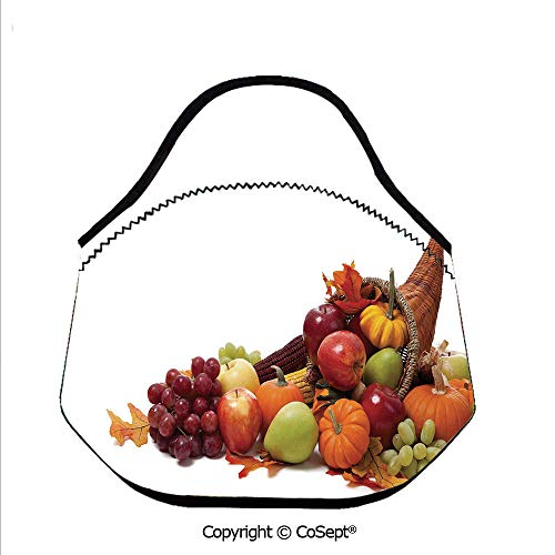 Neoprene Lunch Tote Bag Washable Lunchbox Bag,Fall Arrangement with Fruits of the Season in a Cornucopia Bountiful Harvest Corn Decorative,Lunch Boxes Container Tote(11.81x6.29x11.02 inch) Multicolor