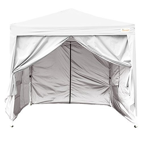 Kingbird 10 x 10 ft Easy Pop up Canopy Waterproof Party Tent 4 Removable Walls Mesh Windows with Carry Bag-7 Colors (white) by Kingbird