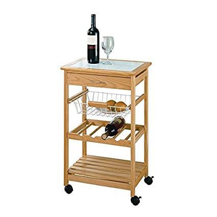 Amazon Com Pine Wood Small Rolling Kitchen Cart On Casters