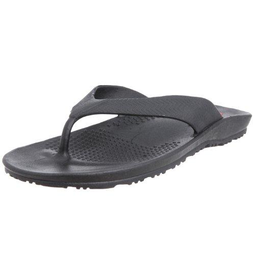 Okabashi Men's Surf Ergonomic Waterproof Flip Flop Sandal Shoes (Black, 9-10)