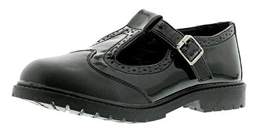 NEU ältere Mädchen / Kinder schwarz Lack T-RIEMEN Brogues Stil Schuhe - schwarz - UK Größen 1-13