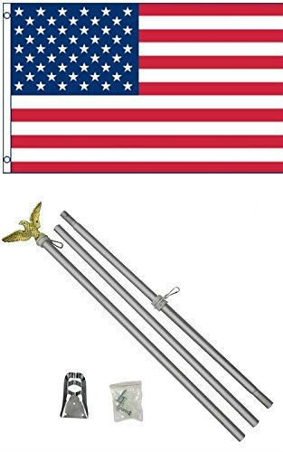 Moon 3x5 USA American 50 Star Flag w/6 Ft Aluminum Flagpole