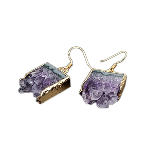 Amethyst Stone Dangle (ZENGORI 1 Pair Gold Plated Natural Amethyst Druzy Slice Druzy Dangle Earrings)