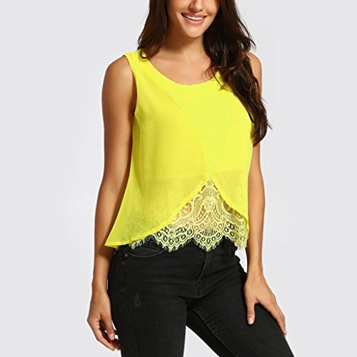 Odeer Women Chiffon Lace Vest Top Sleeveless Casual Tank Blouse Summer Tops T-Shirt (L, Yellow)
