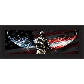 Home Cabin Décor No Greater Love By Jason Bullard 16x40 Soldier Military  Patriotic Inspirational Framed Art