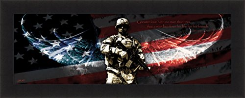 BLESS AMERICA/'S HEROES by Bonnie Mohr 16x22 FRAMED PICTURE Soldier Flag Military