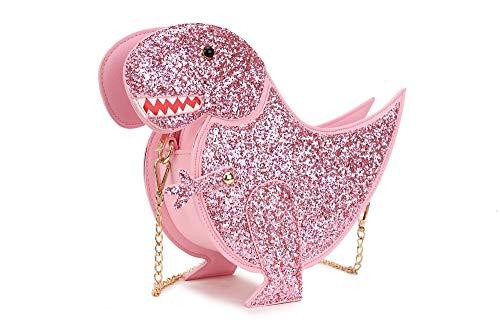 Pnizun - Borsa femminile catena di spalla della mini donne messenger bag Crossbody di tendenza di personalità Dinosaur cuoio di disegno di moda Pu Flap Bag [Rosa ] Rosa