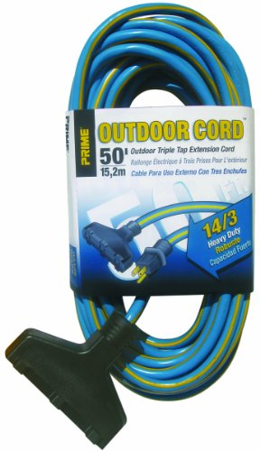 Prime Wire & Cable KC606730 50-Foot 14/3 SJTW Triple-Tap Heavy Duty Outdoor Extension Cord, Blue and Yellow