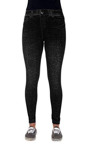 Women's Stretch Fit Jeggings with Realistic Denim Look & Texture (SM-MD, Black)