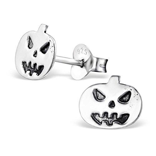 Heavy Metal Halloween Costume Ideas (Halloween Pumpkin Earrings Jewelry Jack O Lantern Plain Sterling Silver 925 Studs Girls Children Hypoallergenic(E28248))