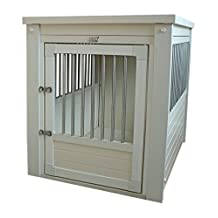 New Age Pet EHHC404L ecoFLEX Dog Crate with Stainless Steel Spindles, Antique White, Large