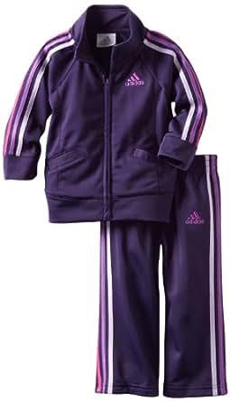 adidas Little Girls' ITB Iconic Tricot Set, Dark Violet, 4T