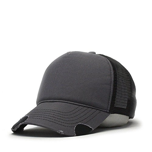 Vintage Year Plain Cotton Twill Mesh Adjustable Snapback Low Profile Trucker Baseball Cap (Various Colors) (Distressed Charcoal Gray/Black)