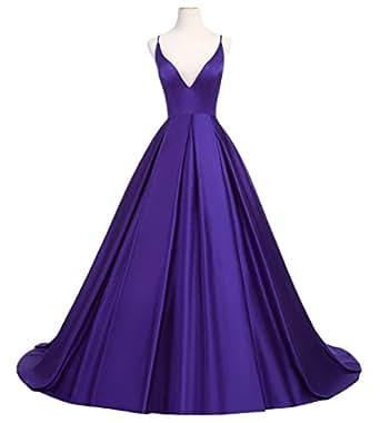 Dearta Women's A-Line Deep V-Neck Floor Length Satin Prom Gowns Regency US 22