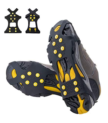 Aliglow Ice Snow Grips Over Shoe/Boot Traction Cleat Spikes Anti Slip Footwear (Best Shoes For Ice Grip)