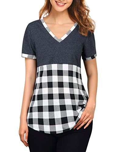 Messic Womens Summer Shirts Short Sleeve, Casual Tunic Tee Shirts Tops for Leggings V Neck Plaid Curved Hem T Shirts Leisure Elastic Breathable Boutique Clothing Daily Wear Black White M