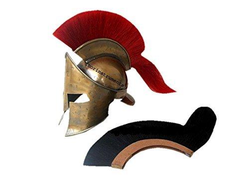 Co Casco espartano con pluma roja, diseño de King Leonidas de 300, acabado de latón antiguo: Amazon.es: Hogar