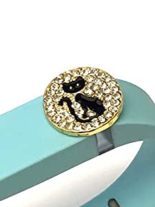 BSI 1pc Large Teal Color Band with Jewelry Crystals Decoration /Black Cat with White Crystals and Gold/ for Fitbit FLEX Only With Metal Clasp Replacement /No tracker/+ Nice Crystals Feather Brooch