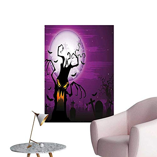 (Wall Stickers for Living Room Scary Tree with Creepy Human Face and Twiggy Arm Design Cemetery Vinyl Wall Stickers Print,24