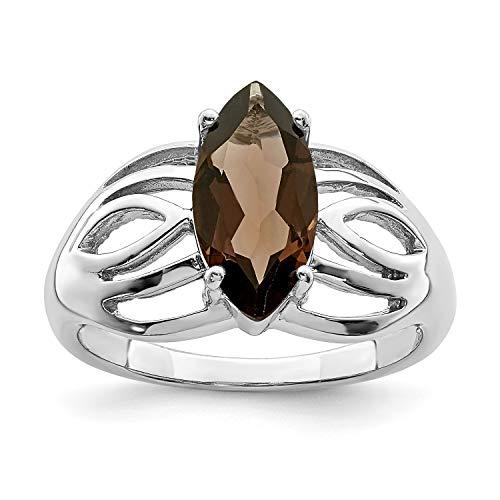 Sterling Silver Rhodium Plated Marquise Smoky Quartz Ring. Gem Wt- 1.6ct