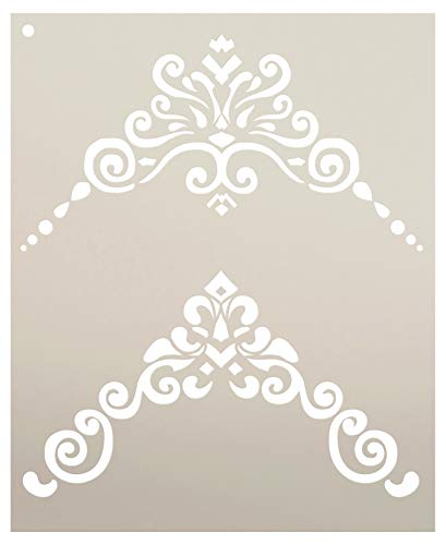 Border Scroll - Corners Embellishment Stencil by StudioR12 | Reusable Mylar Template | Use to Paint Wood Signs - Furniture - Accents - Cabinets - DIY Home Decor - Select Size (12