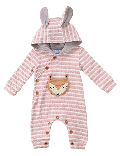 Fox Infant Creeper (Baby Boys Girls Fox Striped Ear Hoodie Romper Jumpsuit Outfit Long Sleeve Buttons Creepers Clothes (6-9M, Pink))