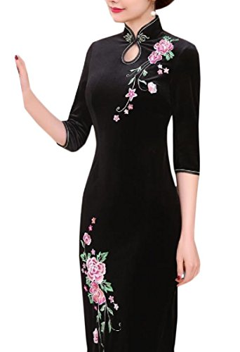 Sleeve Comfy Long Dress 3 4 Pattern5 Cheongsam Collar Womens Stand Embroidered 1xq87p1