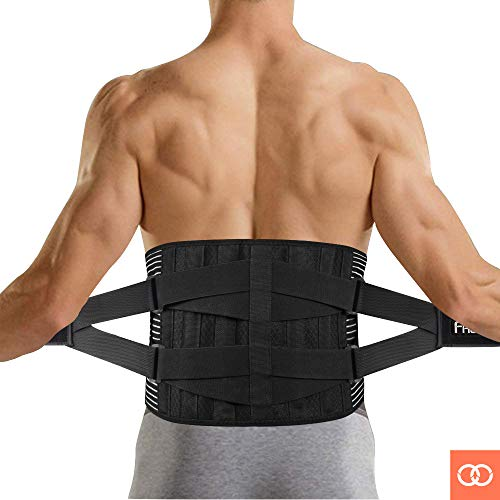FREETOO Back Brace, Adjustable Back Brace for Lower Back Pain Relief Lumbar Belt Support with Breathable Mesh and Dual Adjustable Straps Lower Back Belt for Men&Women