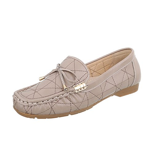 Ital-Design Women's Loafer Flats Wedge Heel Moccasins at Beige Brown D1507-5 2waOr5