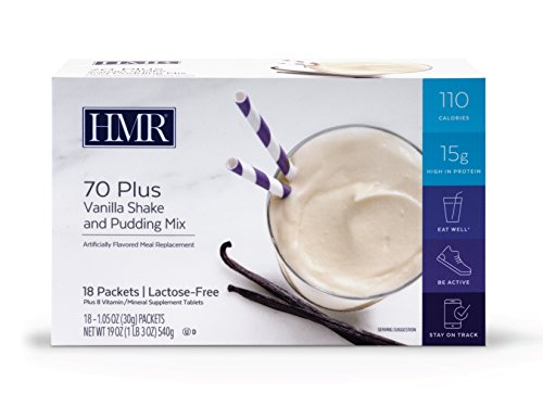 HMR 70 Plus Vanilla Shake and Pudding Mix, 18 Single-Serve Packets
