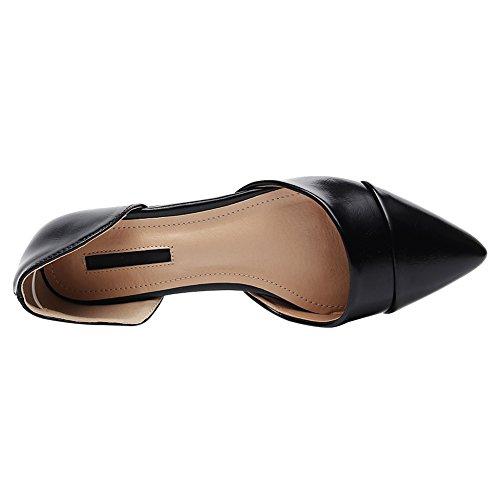 amp; Comfort Elegante Due Jamron Ecopelle D'Orsay Donna Scarpe Pezzi Ballerine Nero Punta cpgqO66I