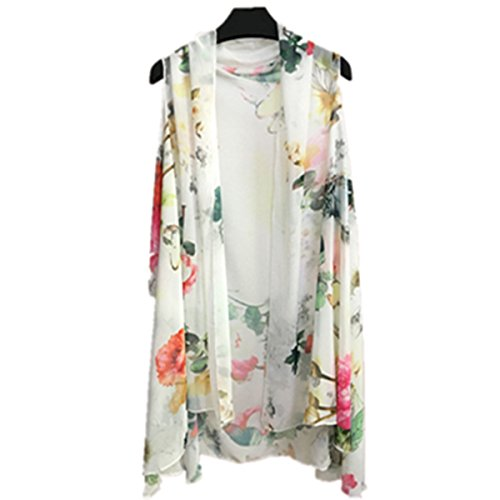 Papaya Women's Solid/Printed Sleeveless Chiffon Cardigan Cover-up ...