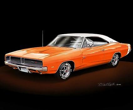Amazon Com 1969 Dodge Charger Rt Orange White Top Car Art Print