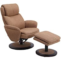 Mac Motion Recliner with Matching Ottoman in Rio Taupe Fabric with Apline Frame